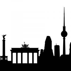Glas Motiv Skyline Berlin