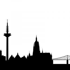 Glas Motiv Skyline Frankfurt