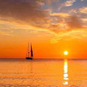 Glas Motiv Sonnenuntergang