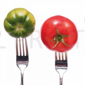Glas Motiv Tomaten auf Gabel