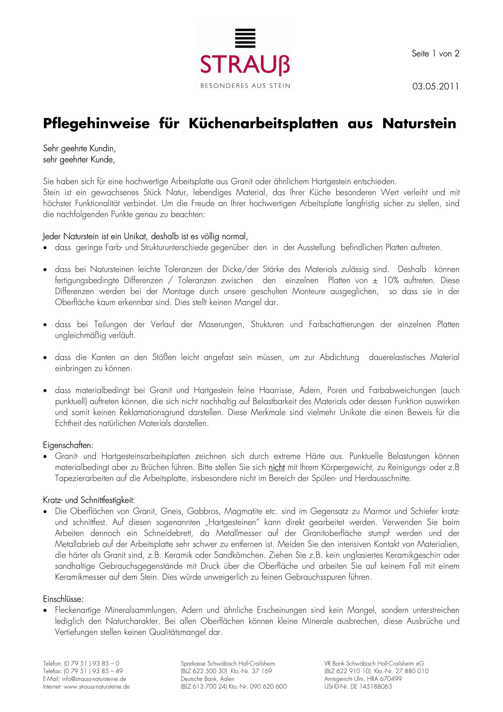 Pflegehinweis Küchenarbeitsplatten (Stand: 03.05.2011)